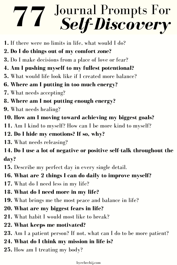 77 Journal Prompts For Self-Discovery and Personal-Growth – by rebechij
