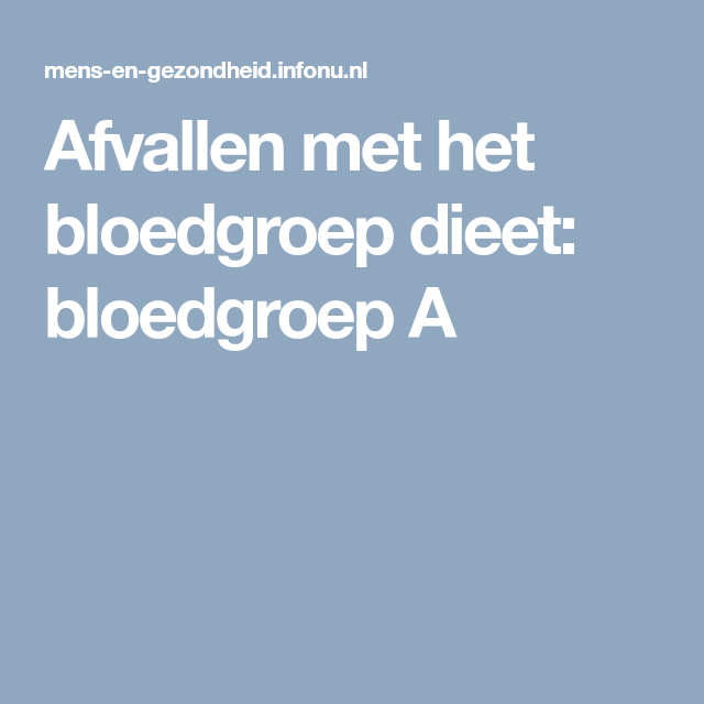 bloedgroepdieet bloedgroep a