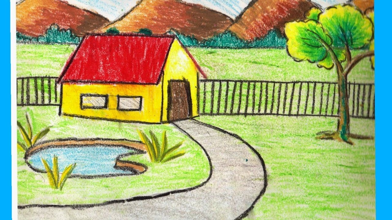 Nature Sketch For Kids At Paintingvalley Com Explore Collection Of Nature Sketch Beautiful Scenery Drawing Easy Scenery Drawing