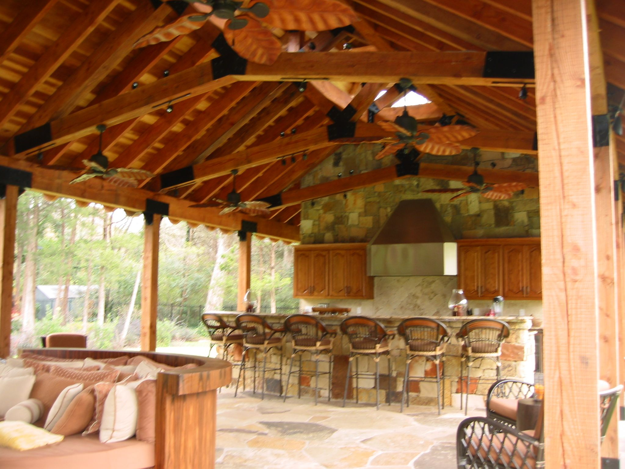 Timber Ceiling Outdoor Kitchen And Dining Seats 6 Stone
