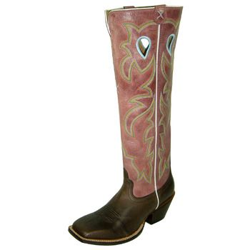 """Twisted X WBKL002 $233 17"""" Chocolate / Rose Leather Sole Ladies Buckaroos"""