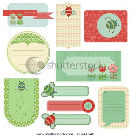 Baby Scrap with Bee -Set of beautiful Tags and design elements