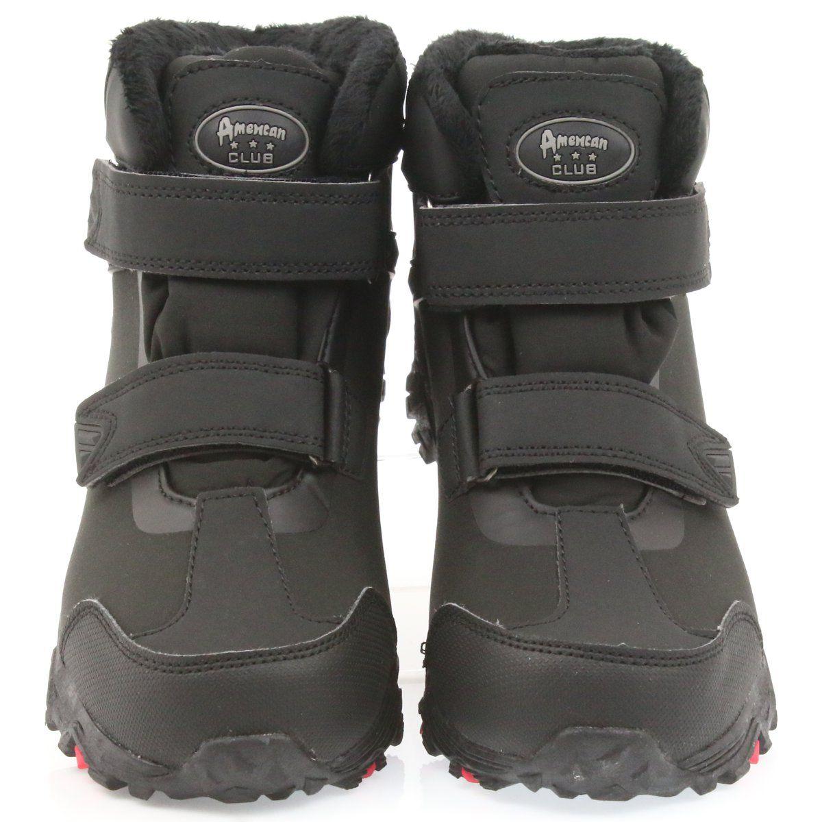 American Club American Trzewiki Buty Zimowe Z Membrana Czarne Boots Winter Boot Softshell