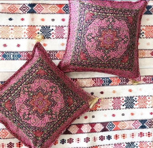 Turkish Ottoman Silk Ceramic Tapestry Pillow Cushion Hand Made Zippered Velvet-4