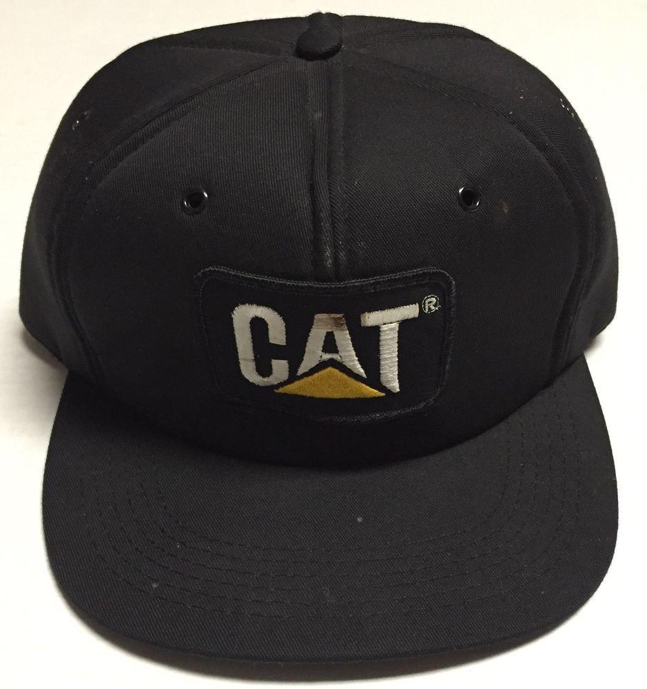 c168843797f Vtg Caterpillar Snapback Hat Made In The USA Tonkin Beat Up Well Worn CAT  Black  Tonkin  BaseballCap