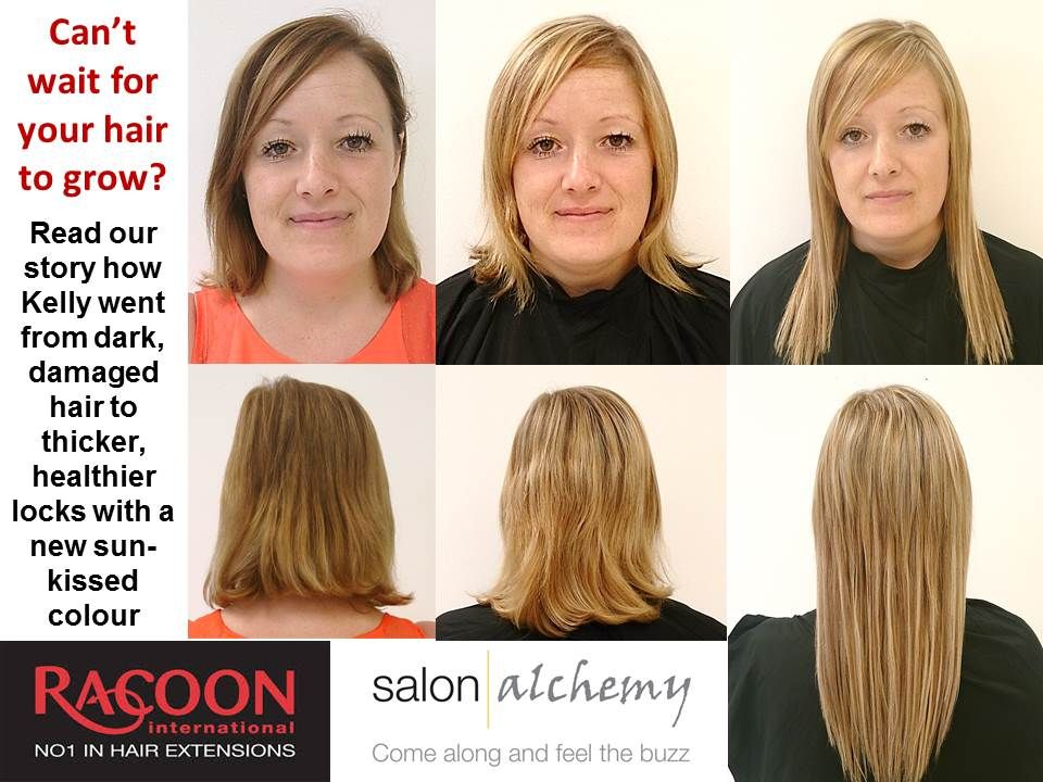 Kelly first came to Lorna and Natalie at that in-between stage of growing out a shorter style and wanting to go back blonde. Once the extensions had all been removed, Lorna noticed how thick and full Kelly's natural hair had become.The natural hair was coloured and the new hair applied giving Kelly the result she hoped for. ANYTHING IS POSSIBLE! just about! CALL Natalie or Lorna for more details on what Racoon can do for you. 01205368368