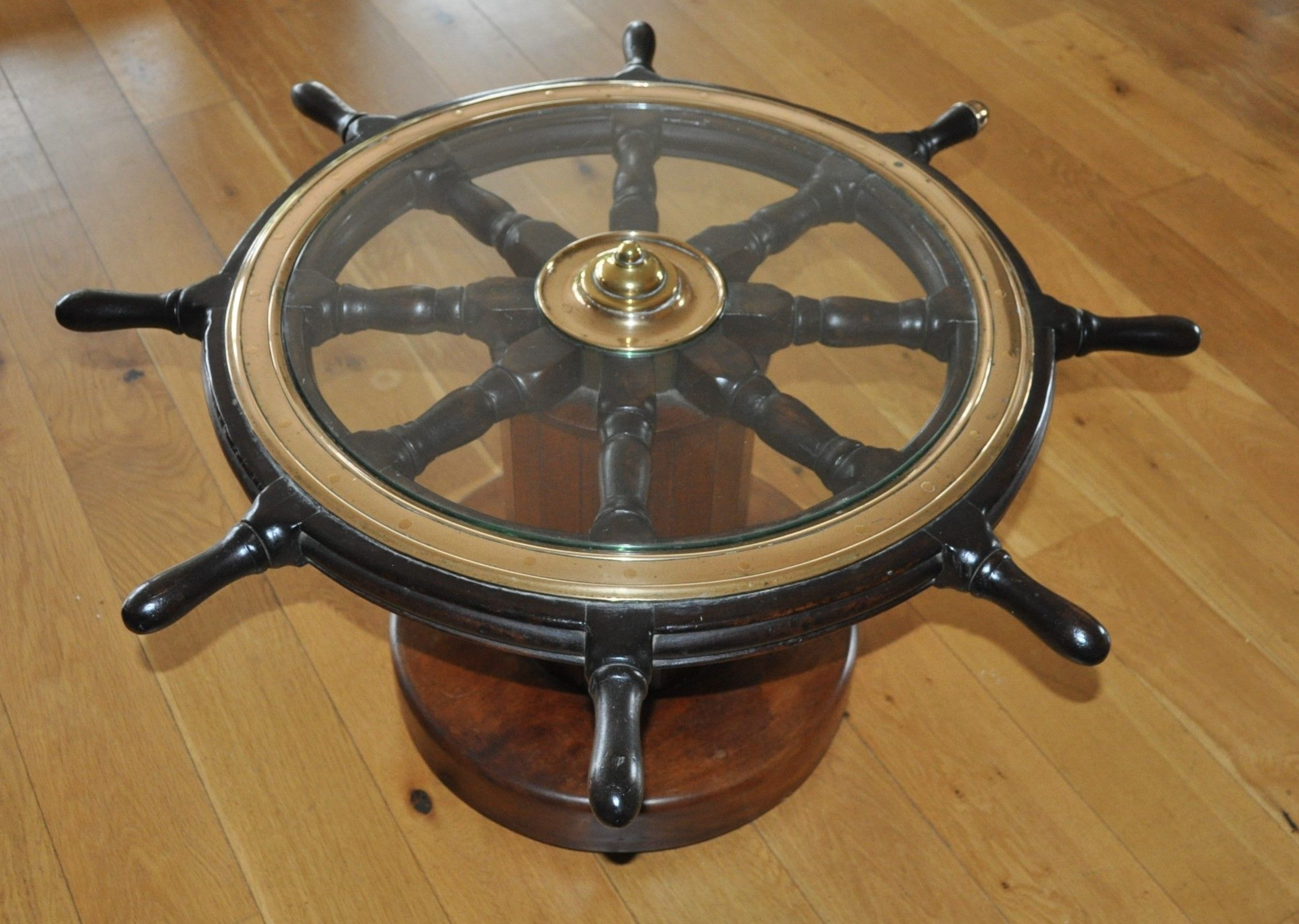 British antique ships wheel coffee table Antiques, Ship