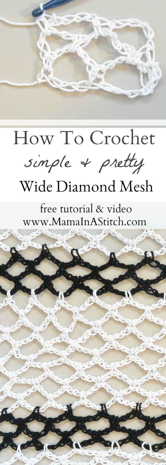 How To Crochet Diamond Mesh Stitch | Puntadas y Ganchillo
