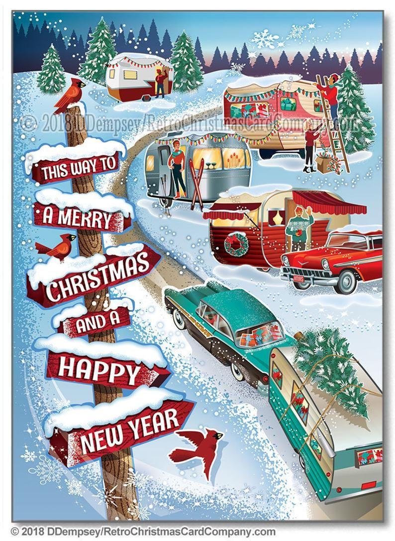 Winter Vintage Campers Christmas Cards Package of 8 Camper