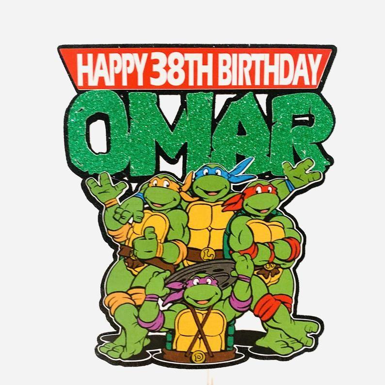Ninja Turtles Cake Topper Ninja Turtles Personalized Cake Etsy In 2021 Turtle Cake Ninja Turtle Cake Topper Ninja Turtle Cake
