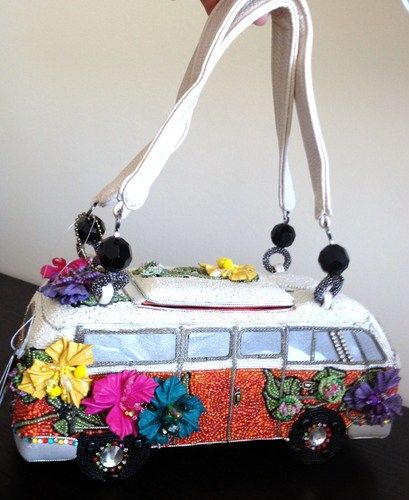 Mary Frances Get on The Bus VW Vintage Auto Bead Bag Purse Handbag NEW  Summer 13
