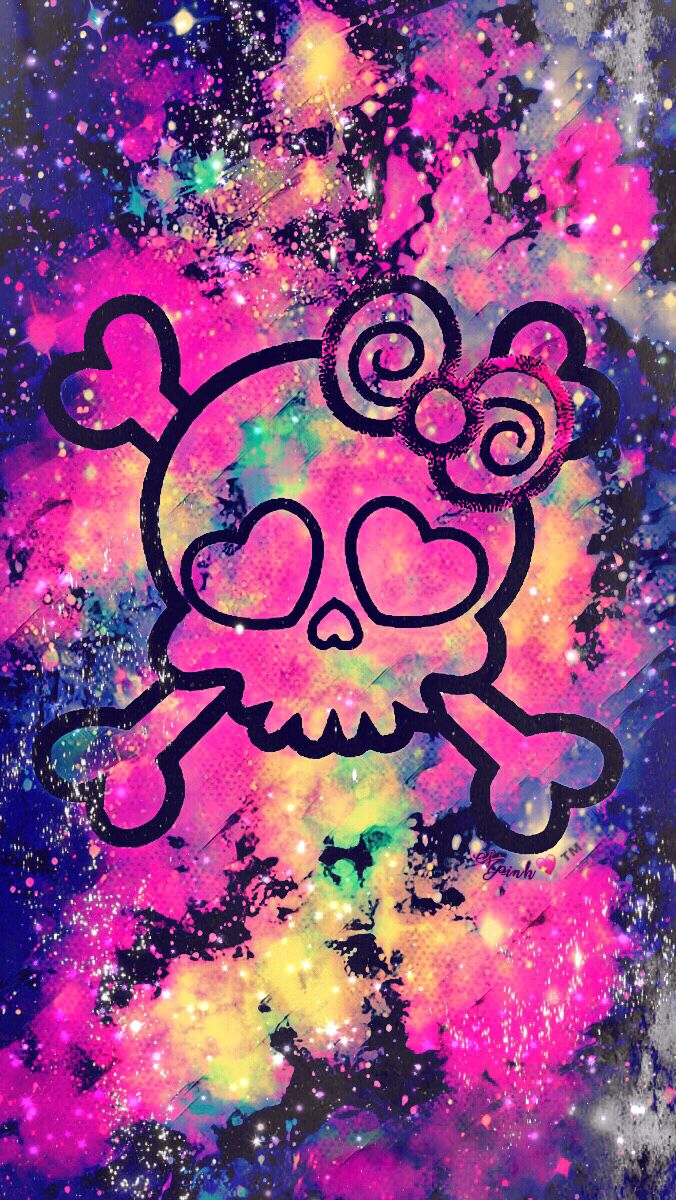 Cocoppa Wallpapers Girl Girly Punk Skull Galaxy Wallpaper Androidwallpaper