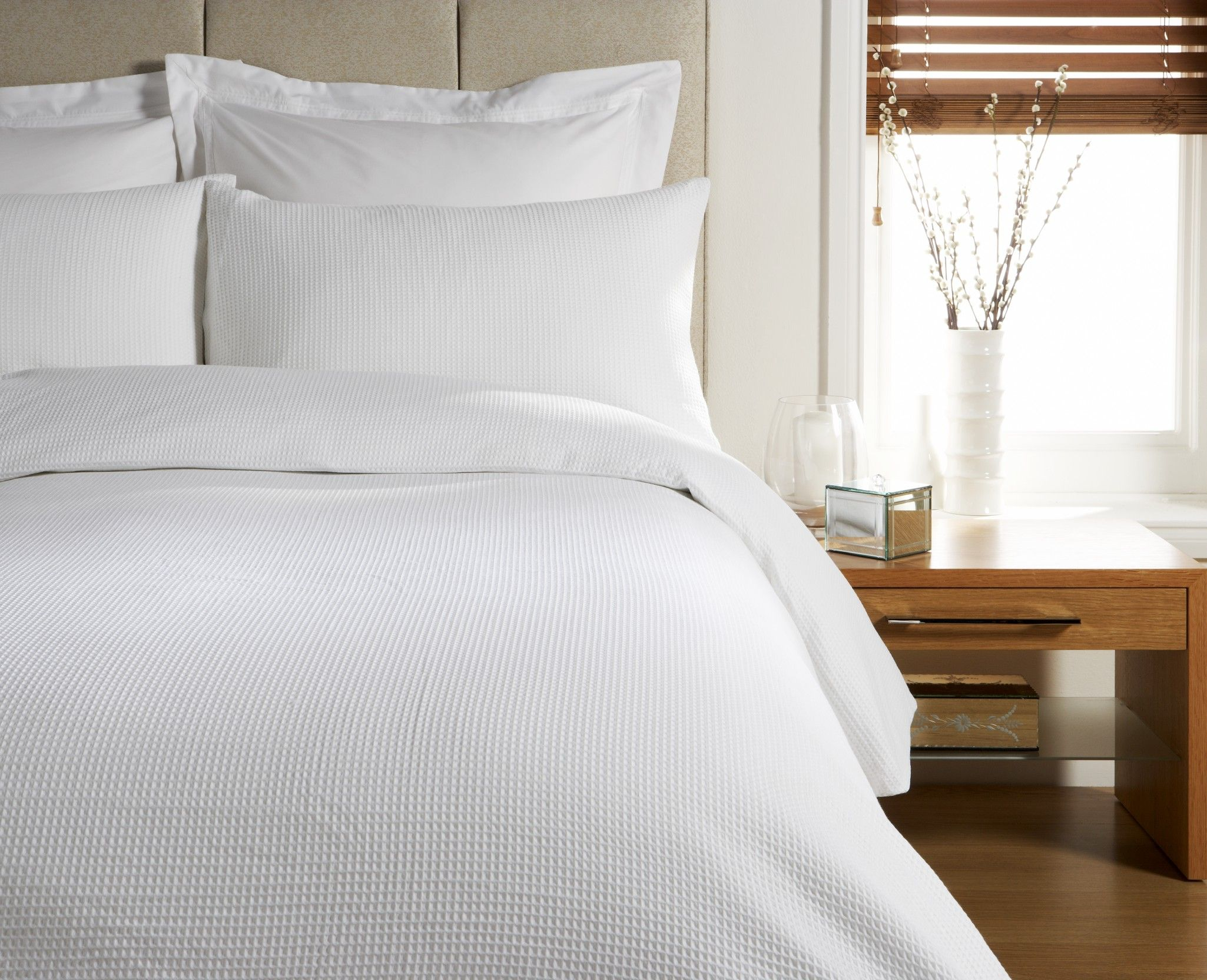 White Bedding Waffle White Duvet Cover Super King Bed
