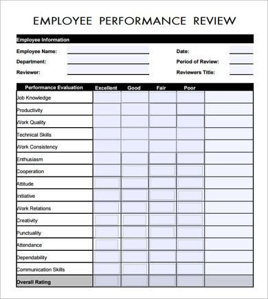 employee performance review An Employee Evaluation Form Money
