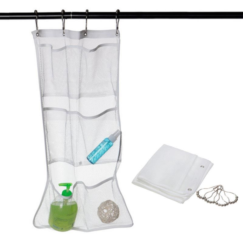 6 Pocket Bathroom Save Space Tub Shower Hanging Mesh Organizer Caddy ...