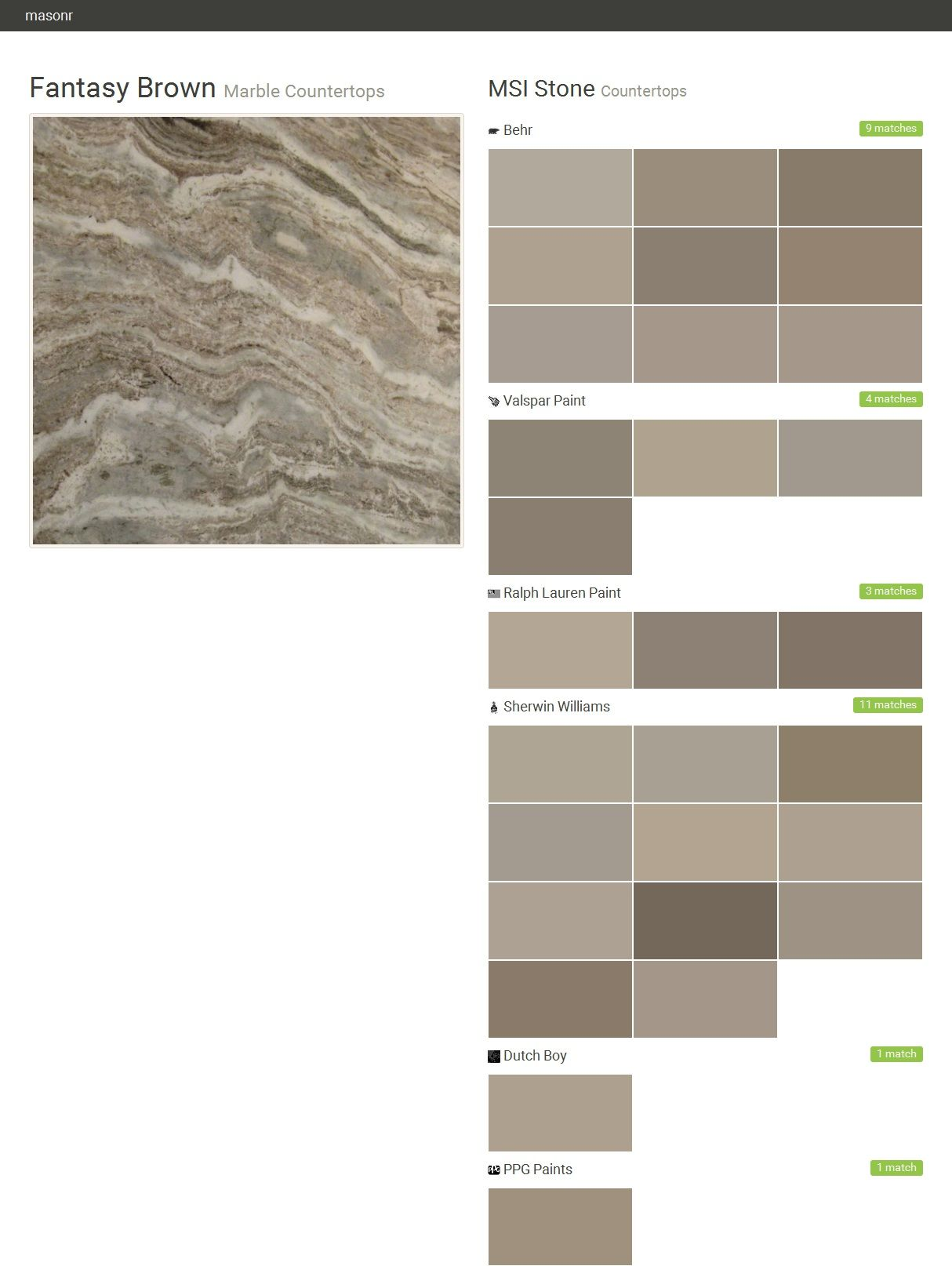 Fantasy brown marble countertops countertops msi stone for What colors match with grey