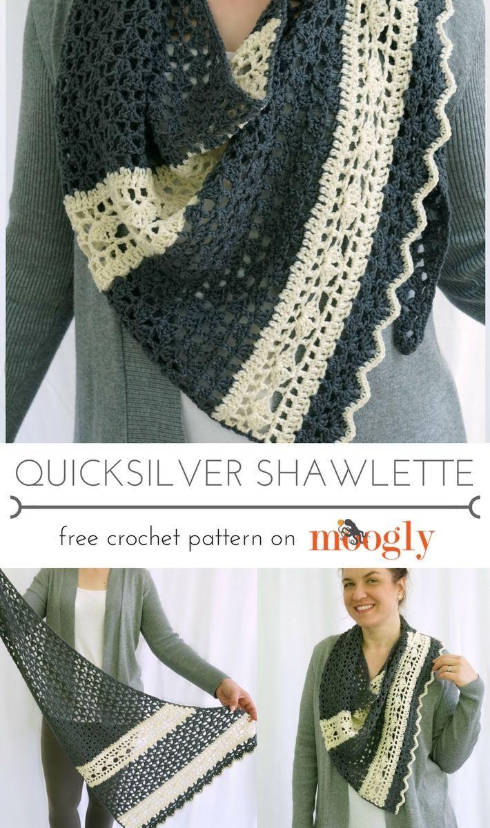 Quicksilver Shawlette - Free #Crochet Pattern on | lanas y puntos ...