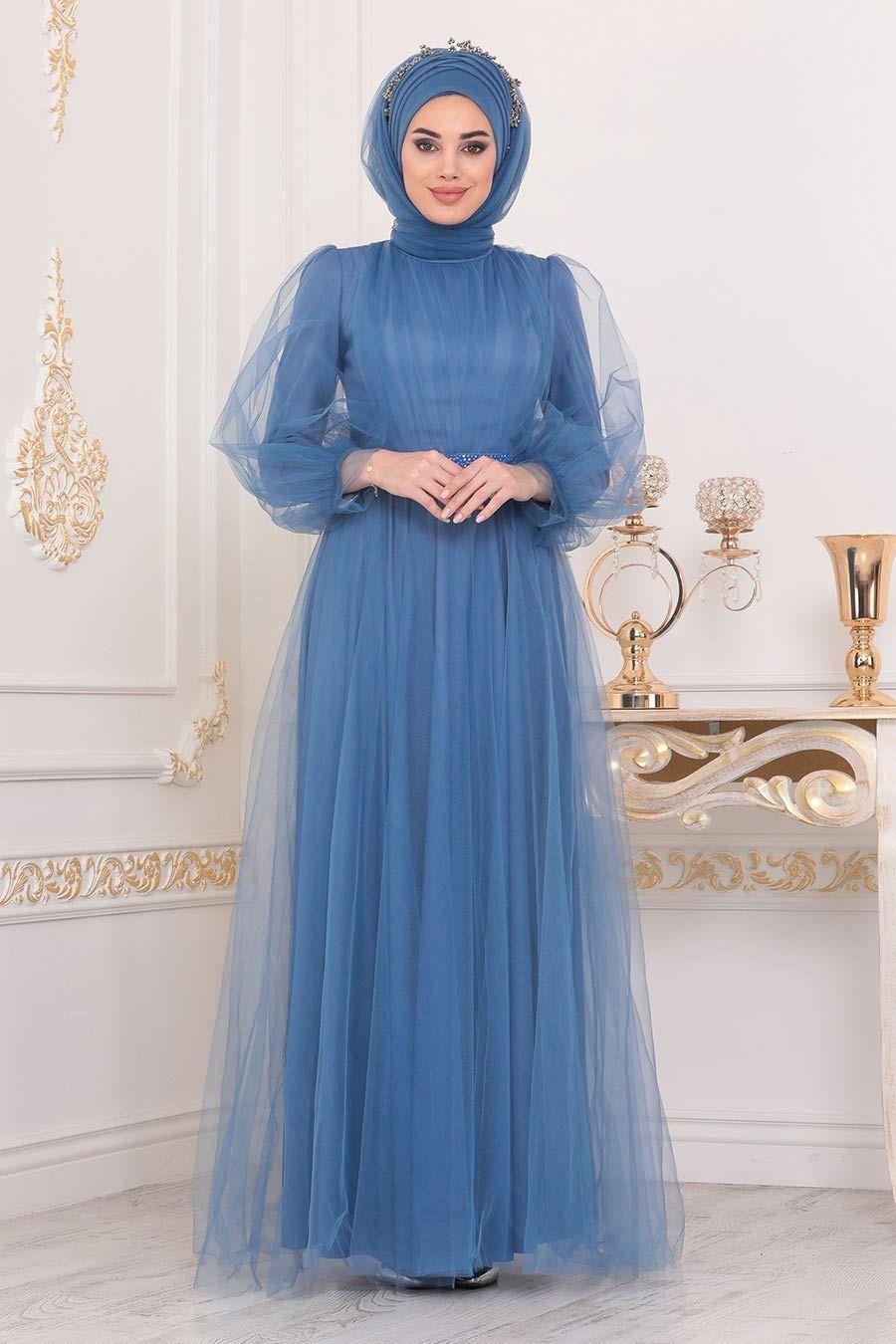 Tesetturlu Abiye Elbise Tullu Mavi Tesettur Abiye Elbise 40020m Tesetturisland Com 2020 Moda Stilleri Elbise Elbiseler