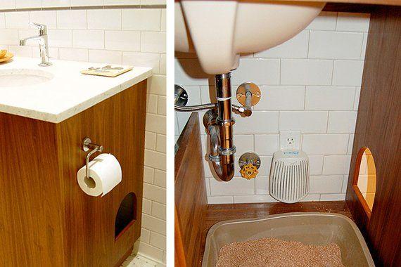 Vanity With Hidden Litterbox Storage Under Sink Storage