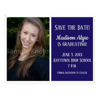 blue and white photo graduation save the date card graduation