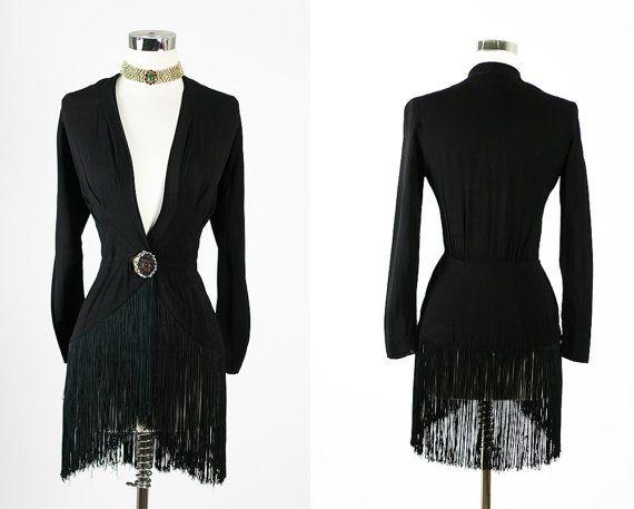 Vintage 30s Elegant Deco Burlesque Fringe Black Rayon Cocktail Party Dress Top Jacket