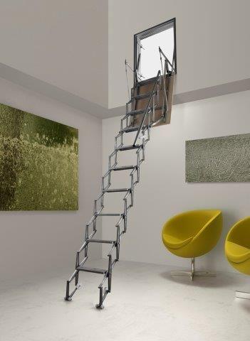 Escalera para tico retr ctil en aluminio para colocaci n en pared escaleras para atico - Escalera plegable para altillo ...