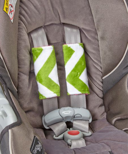 sewing inspiration-Fuchsia & Jade Chevron Minky Reversible Car Seat Strap Covers