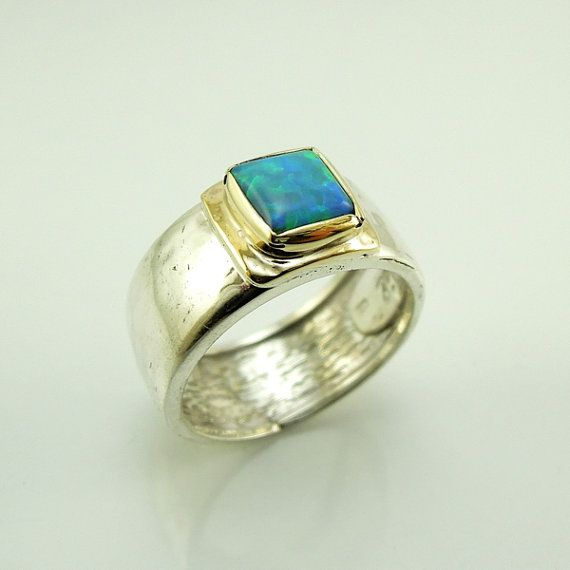 Opal Ring Hammered Silver 9k Gold  Band HadasGold on Etsy, $1,186.31 HKD