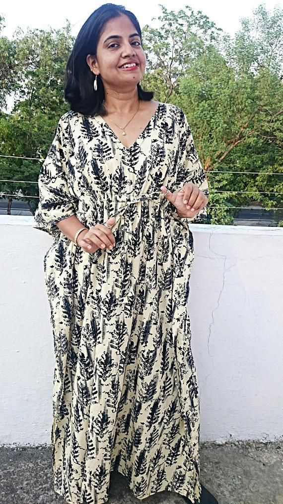 Kaftan Maxi Dress Beach Cover Up Caftan Oversized Dress Womens ...