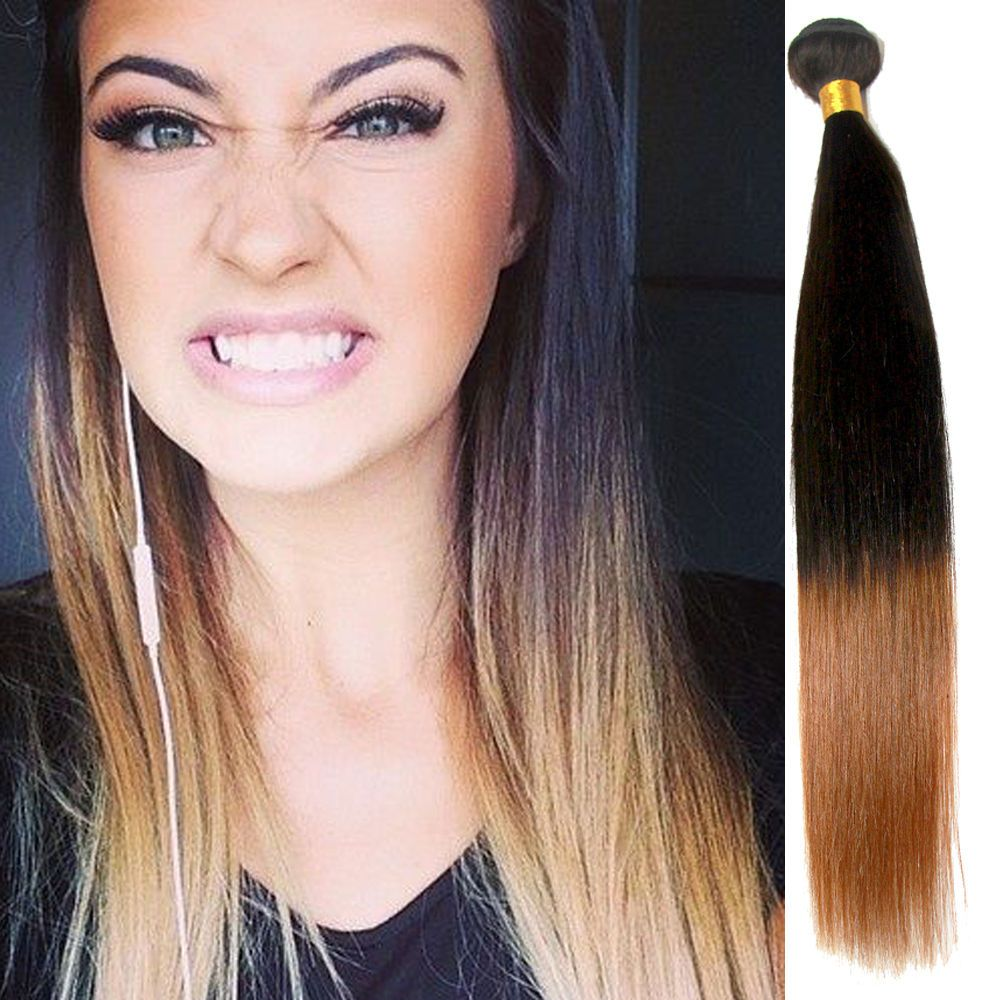 Cheap Ombre Straight Human Hair Extensions 2tone Lady Human Hair