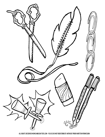 Some Fun For Back To School Teens And College Students Grab These Free Printable Office Supplies Coloring Pages Adults Stationery