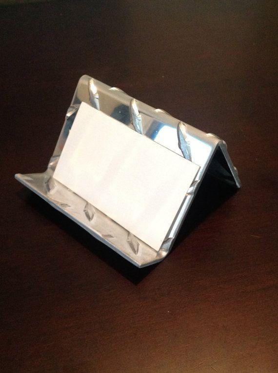Aluminum Diamond Plate Business Card Holder Short1 8 Inch Etsy Diamond Plate Business Card Holders Business Cards