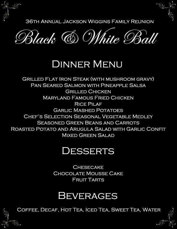black white ball formal banquet dinner menu you re invited in