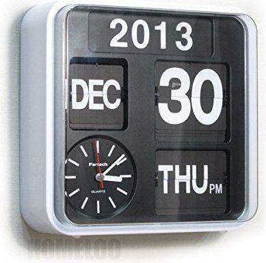 Fartech Calendrier Horloge Murale Horloge Flip R/étro 24 cm