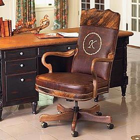 Custom Leather And Cowhide Office Chair Rustic Office Decor