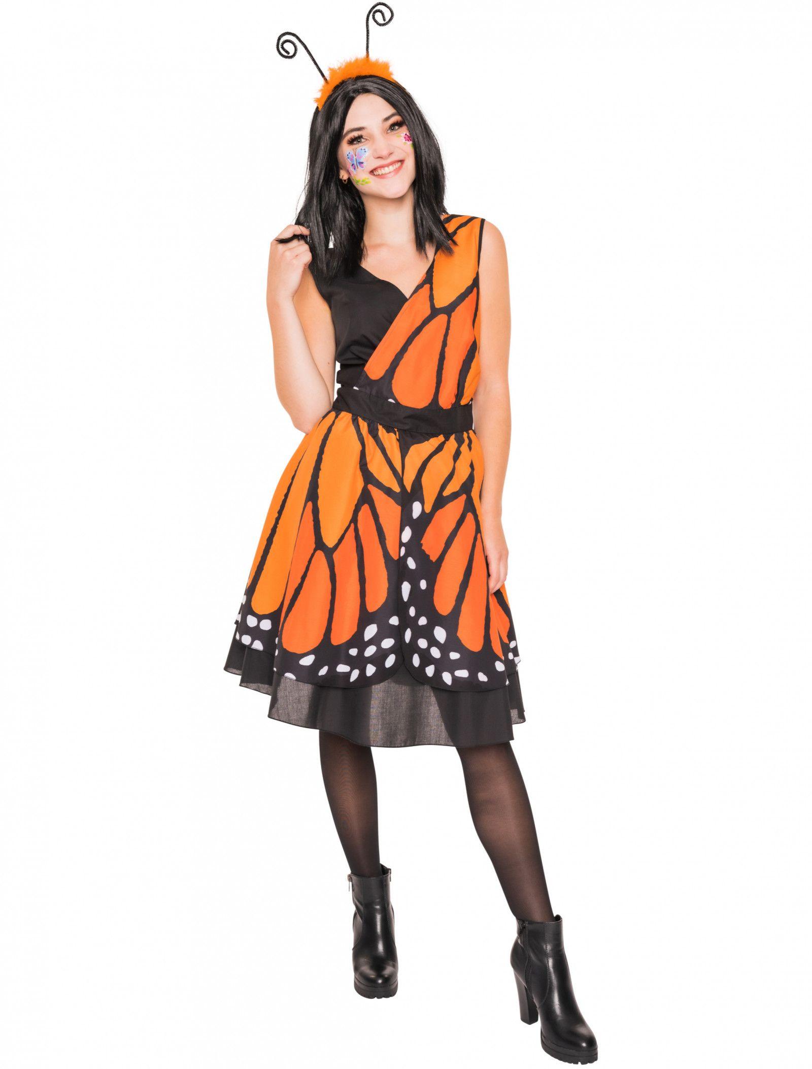 Dieses Schmetterling Kostum Bestehend Aus Einem Kleid In Orange Ist Perfekt Fur Karneval Und Fasching Das Kleid Ist Knielang Und Is Modestil Minikleid Kleider