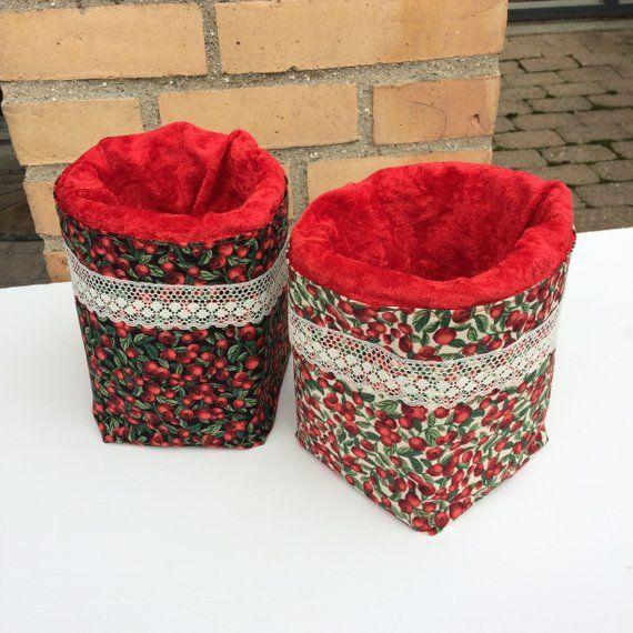 Cranberry basket, cranberries storage, home decor, red velor basket