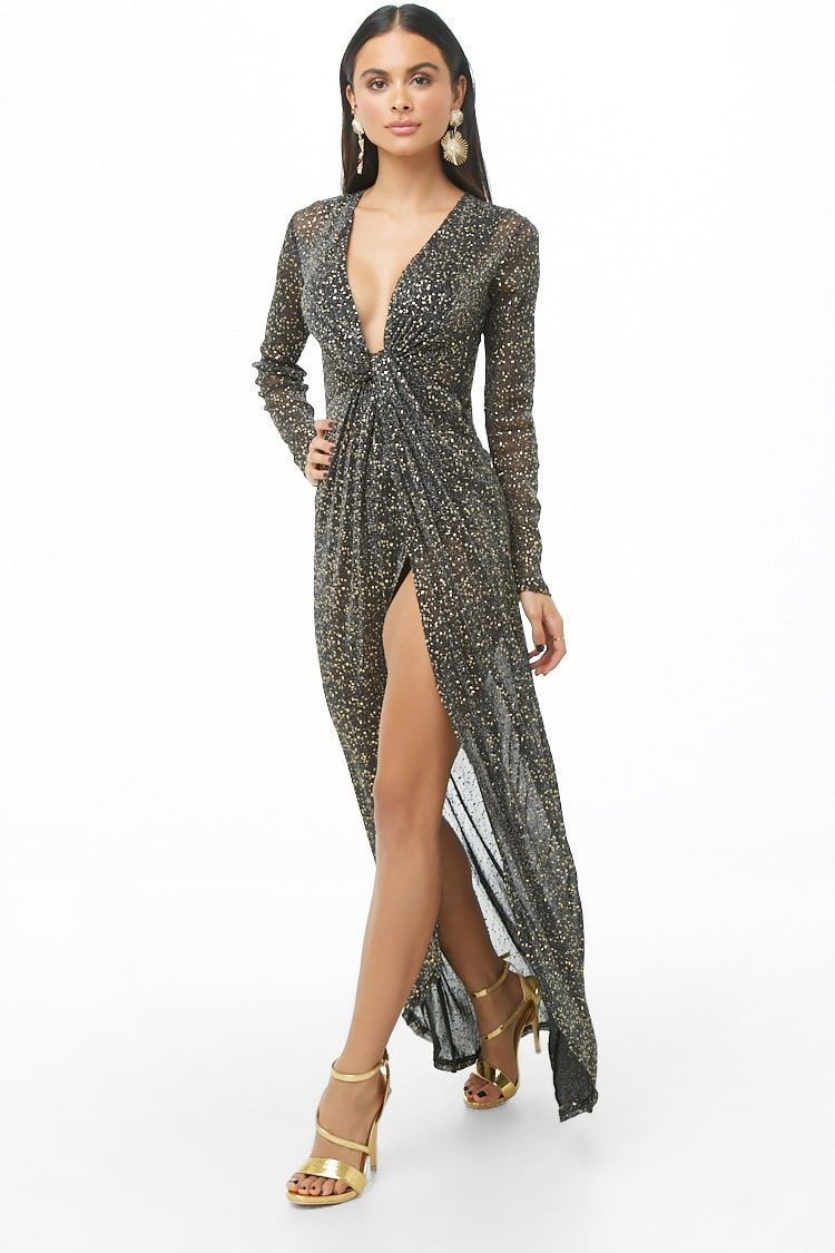 Sheer glittered twistfront gown clothes in pinterest