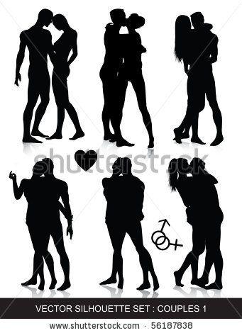 Couple Silhouettes Set By Illustrart Via Shutterstock Couple Silhouette Man And Woman Silhouette Silhouette