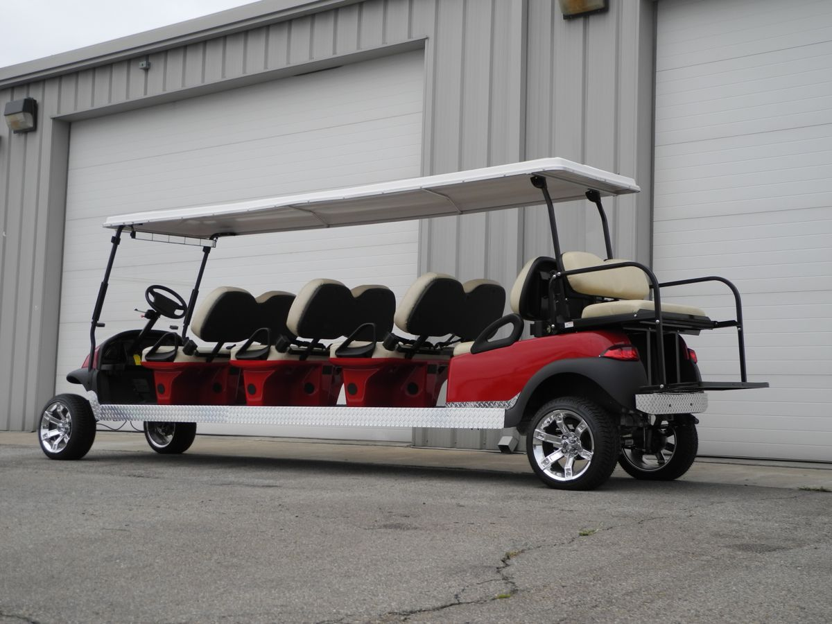 The Big Daddy Of All Stretch Limo Golf Cars This 48v Electric Stretch Limo Club Car Precedent Is Equipped With S Club Car Golf Cart Golf Car Custom Golf Carts
