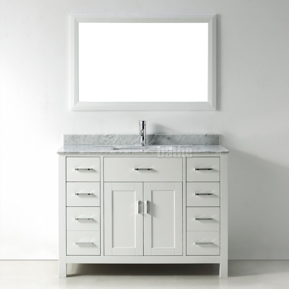48-inch Belvedere Modern Freestanding White Bathroom Vanity with ...