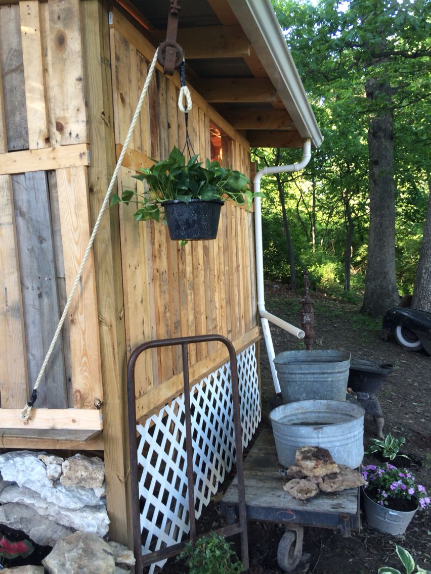 Pallet shed our work in progress pinterest pallets
