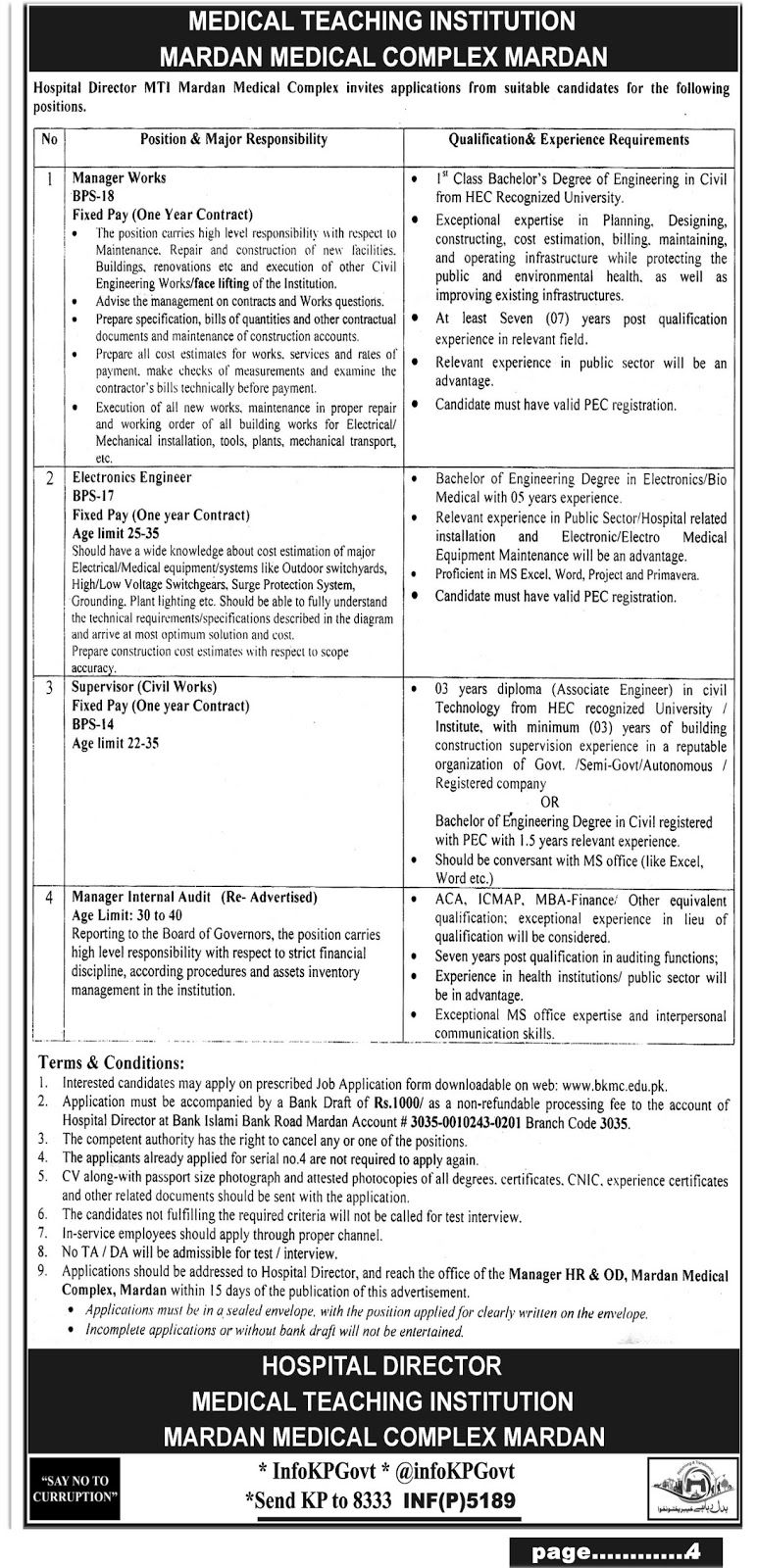 Medical Teaching Institution Mardan Medical Complex Jobs Http