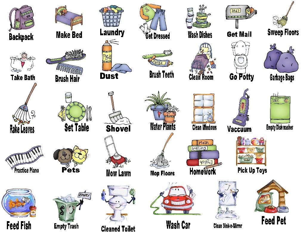 kids chore chart clip art