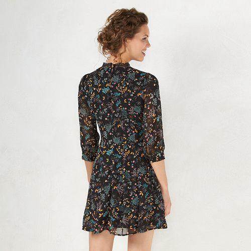 Women's LC Lauren Conrad Floral Mockneck Shift Dress