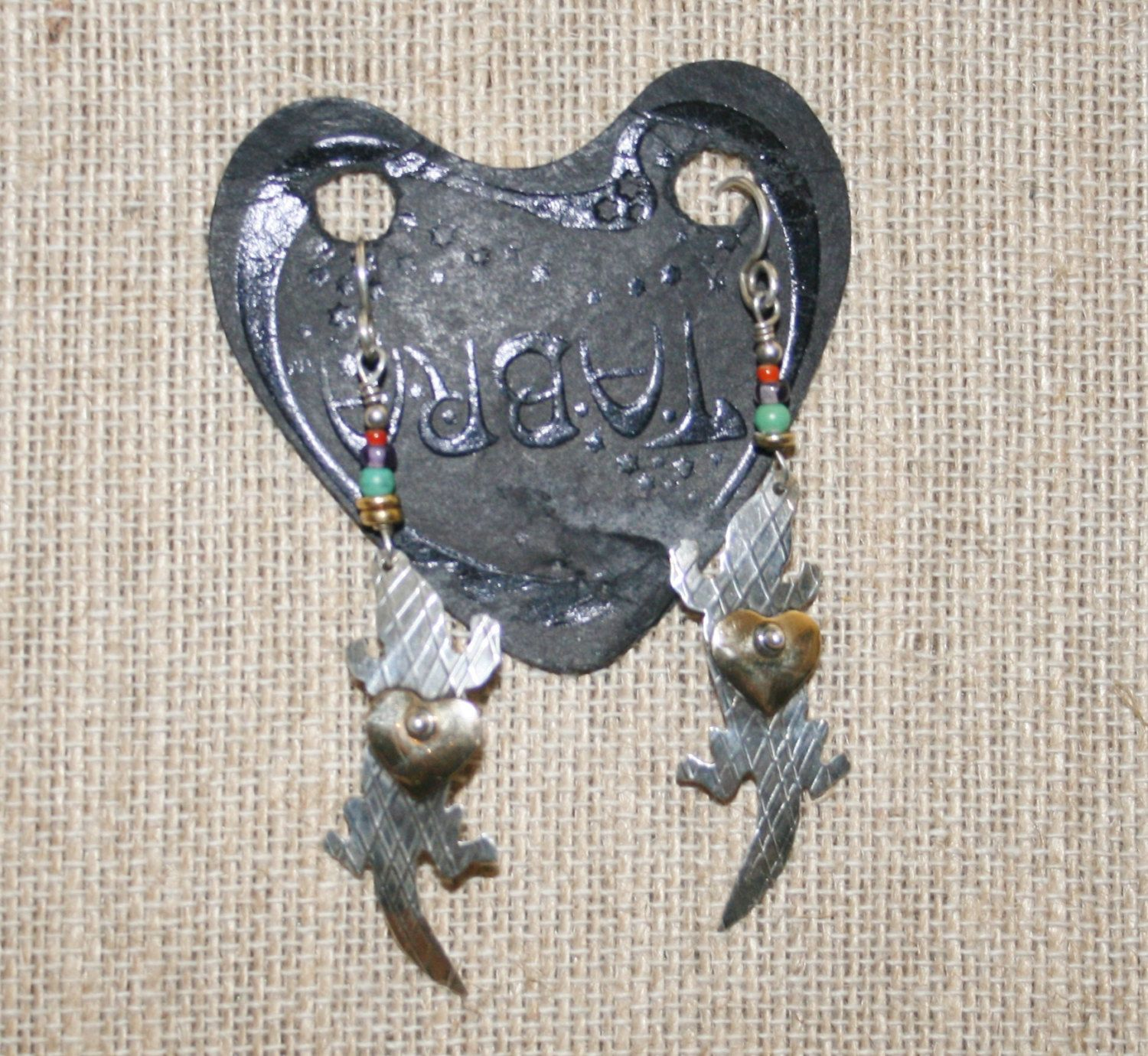 Tabra Lizard Heart Beads Earrings  plus Free USA Shipping! by Route66Diner on Etsy