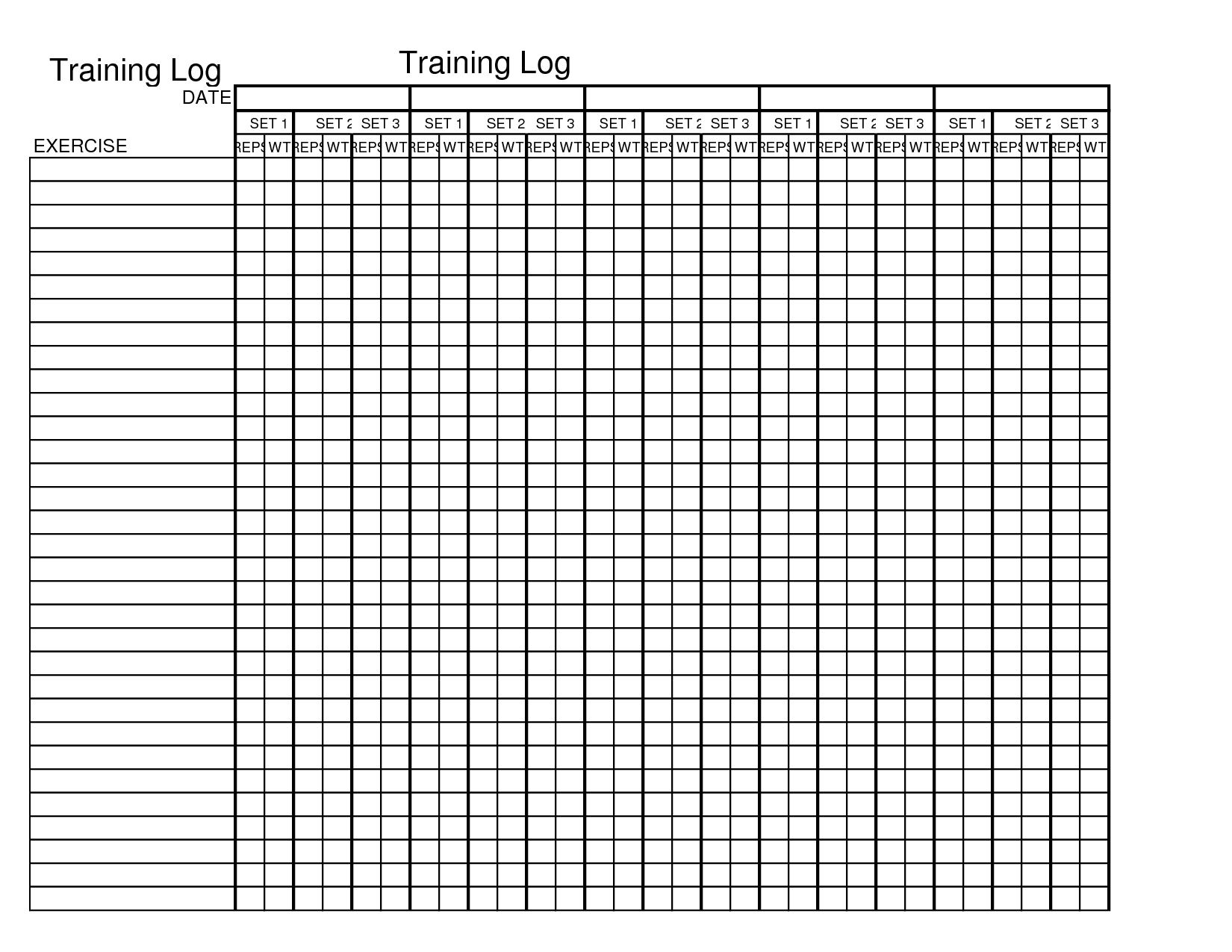 Training log template chp9ktls exercise pinterest for Weight training log template