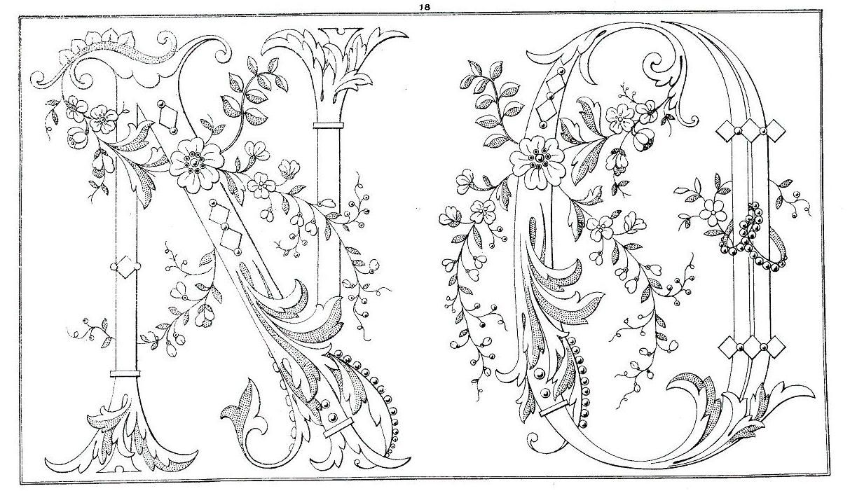 Ornate Vintage Alphabet Motif N,O Embroidery alphabet