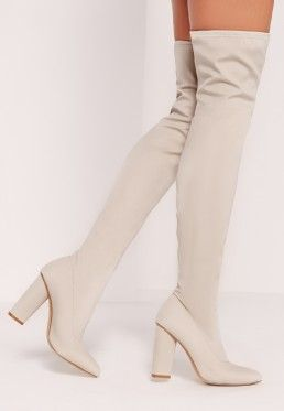 664e446820de Pointed Toe Neoprene Over The Knee Boot Cream | MISSGUIDED | Boots ...