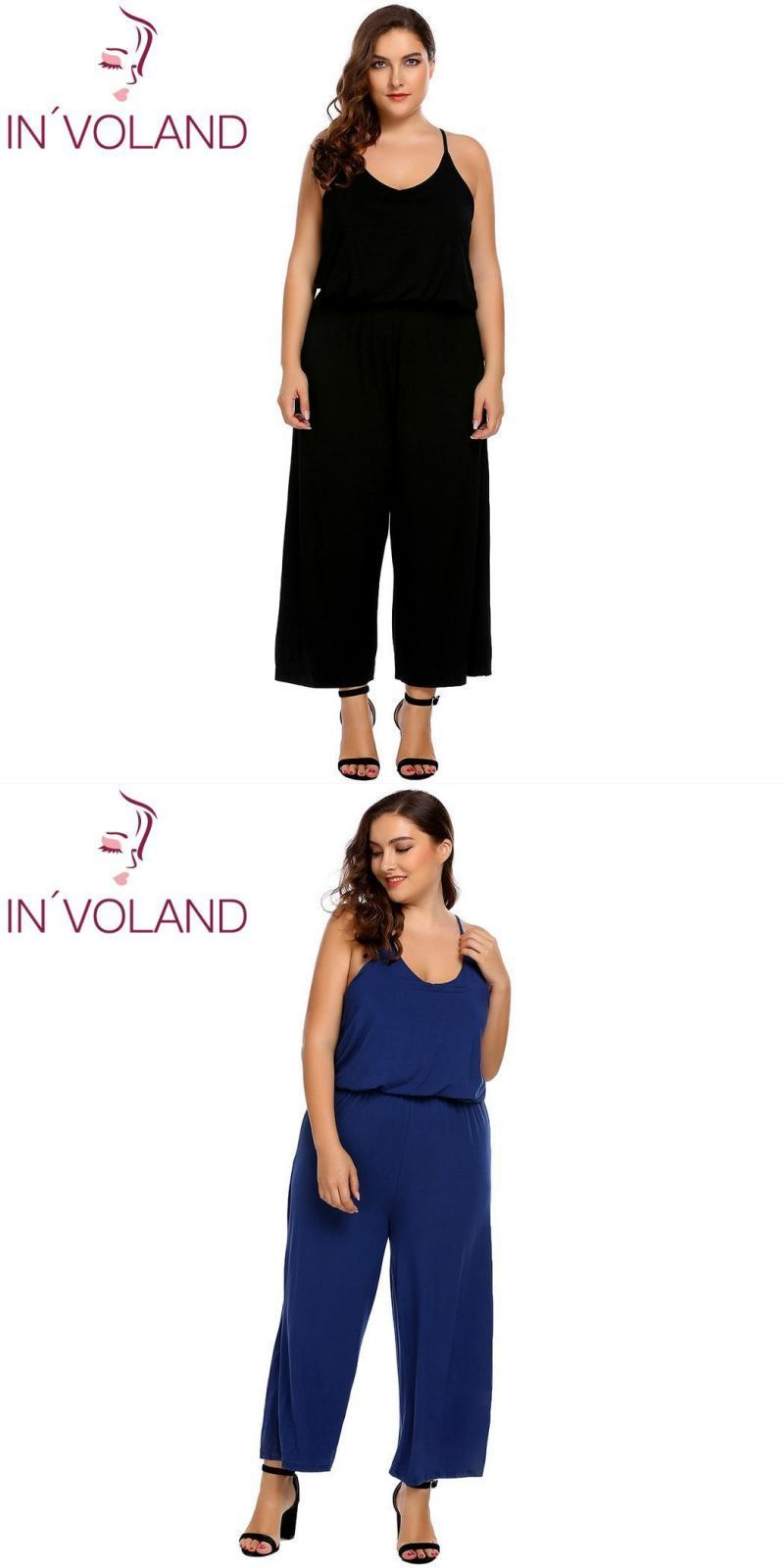 a91f6083429 In voland large size xl-5xl women jumpsuit 2018 new sexy spaghetti strap  sleeveless solid ruffle loose plus rompers big size  cotton  jumpsuits   casual ...